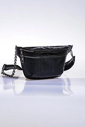 Kadın Siyah Bel Çantası sg662-kroko siyah