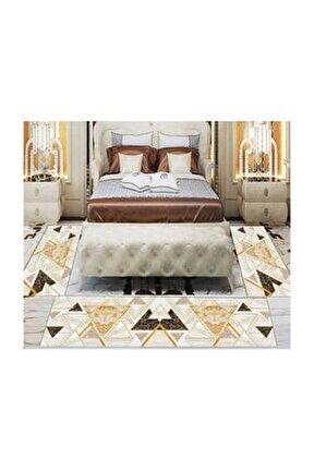 Else Sarı Kahve Geometrik 3d Desenli Yatak Odası Halısı 3 Lü Set