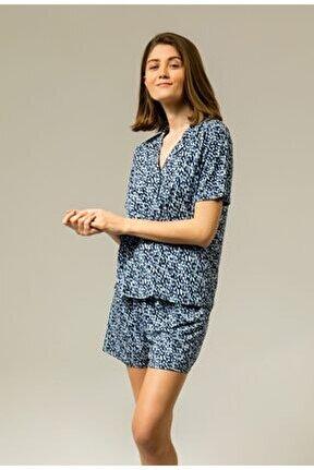 Yumuşak Mermer Desenli Gri Esnek Şort Pijama Takımı