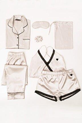 7 Li Dantelli Saten Pijama Takım