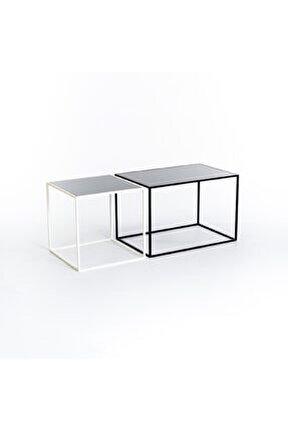 Minimalist Tasarım Iki Renk Metal Orta Sehpa Siyah & Beyaz