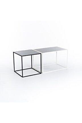 Minimalist Tasarım Iki Renk Metal Orta Sehpa Beyaz & Siyah