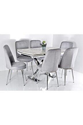 Gri 6 Kişilik Açılır Masa Sandalye Takımı X Ayak Masa Yemek Masası Salon Masası Mutfak Masası
