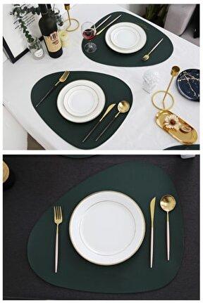 Deri Amerikan Servis Zümrüt Yeşili Renk 4 Kişilik 8 Parça Set
