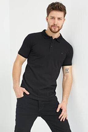 Erkek Siyah Polo Yaka Basic Slim Fit T-shirt