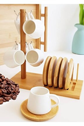 Bambu Askılı Standlı Porselen Kahve Fincanı Takımı 6'lı, 3042