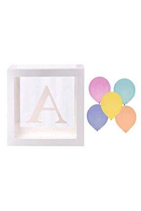 Şeffaf A Harfli Beyaz Kutu Ve Balon Seti