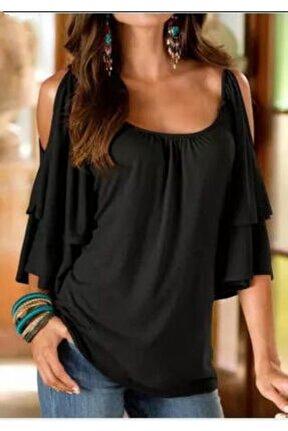 Kadın Siyah Viskon Kumaş Omuz Detay Katmanlı Bluz