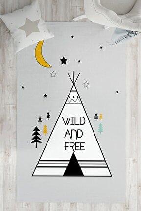 Gri Wild And Free Çocuk Odası Halısı