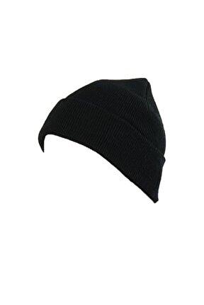 Erkek Katlamalı Bere Şapka Kışlık Siyah