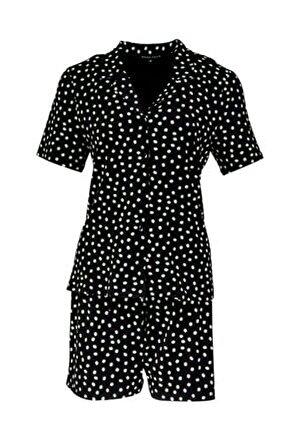 Yumuşak Puantiye Desenli Siyah Esnek Şort Pijama Takımı