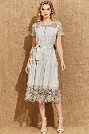 Kadın Bej Guıtar Elbise 21404