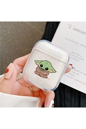 Baby Yoda Desenli Şeffaf Airpods Kılıfı