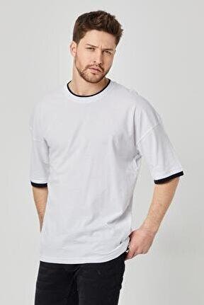 Erkek Düz Oversize T-shirt Beyaz