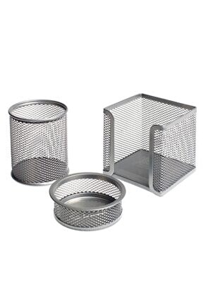 Metal Perfore 3'lü Set Silver