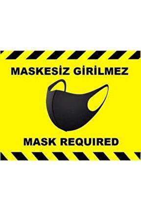 Sosyal Mesafe Maske Uyarı 15x20 Cm Sarı Türkçe-ingilizce Etiket Sticker C4-15