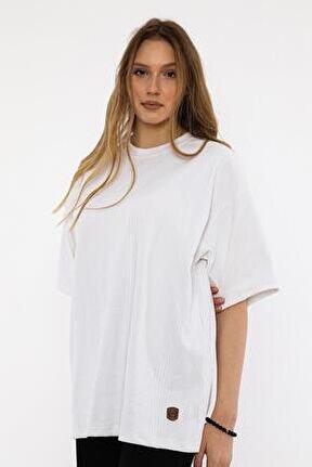 Kadın Beyaz Oversize T-shirt (un-7040)