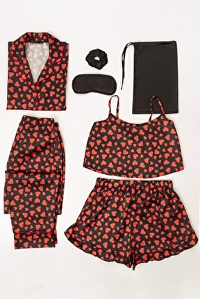 7 Li Kalpli Saten Pijama Takım
