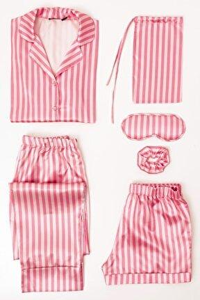 6 Lı Cizgili Saten Pijama Takım