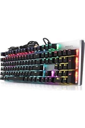 Spk8404 Siyah/gümüş Rainbow Mekanik Oyuncu Klavye