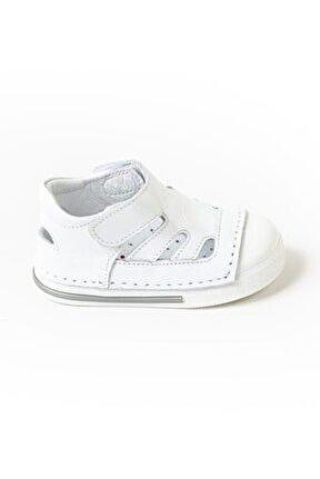 Unisex Bebek Beyaz Deri Ortopedik Ilk Adım Ayakkabı