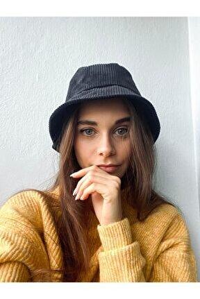 Kadın Siyah Kadife Budget Balıkçı Model Şapka