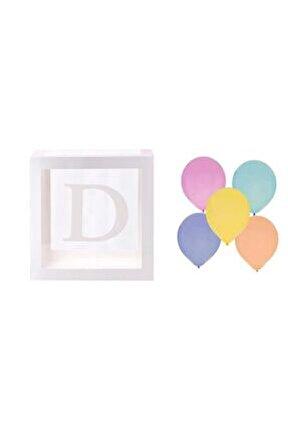 Şeffaf D Harfli Beyaz Kutu Ve Balon Seti