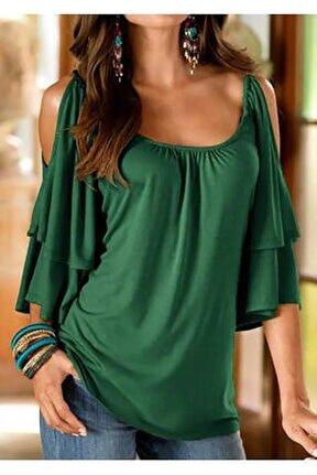 Kadın Haki Omuz Detay Bluz 60 cm