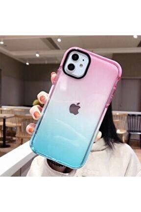 Iphone 11 Premium Rainbow Renkli Silikonlu Telefon Kılıfı