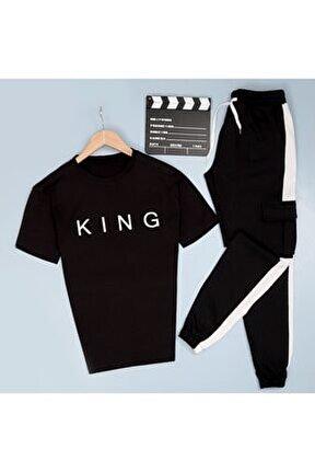 King Baskılı T-shirt Eş Kargo Beyaz Eşofman Takımı