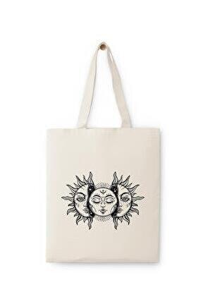 Vintage Güneş Ve Ay Baskılı Ham Bez Çanta
