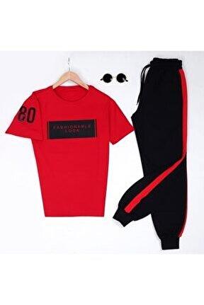 80 Kırmızı Baskılı T-shirt Eş Kırmızı Eşofman Takımı