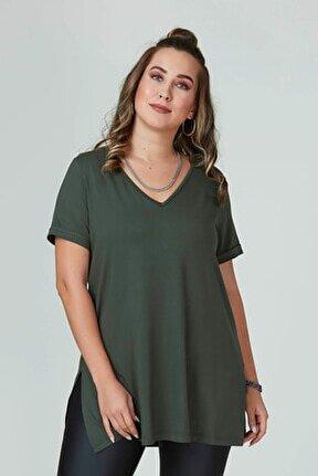 Kadın Haki V Yaka Basıc Tişört