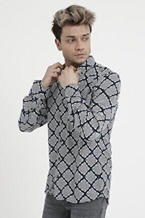Erkek Lacivert Uzun Kollu Regular Desenli Viskon Gömlek