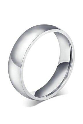 Gümüş Rengi 6 Mm Düz Çelik Alyans