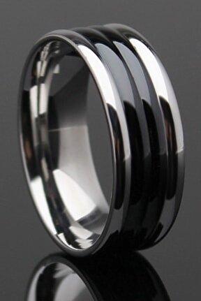 Silver Black Çizgili Çelik Alyans