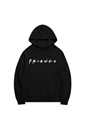 Friends Siyah Kapşonlu Sweatshirt