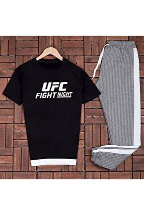 Aynı Butikte 2. Ürün 1 Tl Fight Siyah Baskılı T-shirt Eş Gri Çizligi Es475