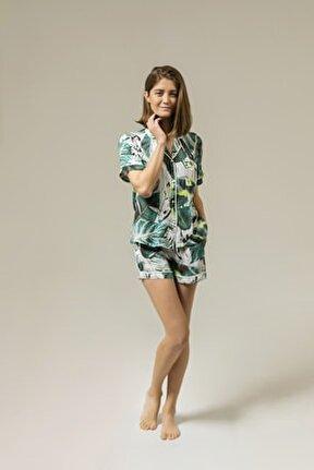 Yumuşak Amazon Çiçekli Viskon Şort Pijama Takımı