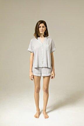 Yumuşak Vizon Çizgili Viskon Şort Pijama Takımı