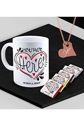 Kişiye Özel Sevgililer Temalı Kupa Madlen Çikolata Ve Rose Kalp Kolye Set - 83