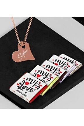 Kişiye Özel Sevgililer Rose Kalp Kolye Ve Melodi Madlen Çikolata Set - 81