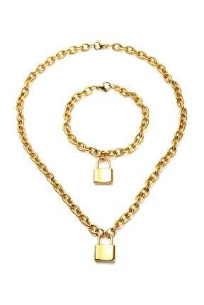 Kadın Aşkın Kilidi Gold Çelik Bayan Kolye ve Bileklik ec82sr