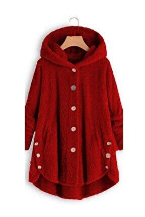 Yeni Model Kadın Polar Düğme Detay Kapşonlu Wellsoft Ceket (Kırmızı)
