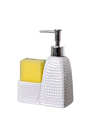 Porselen Süngerli Sıvı Sabunluk Beyaz, Bulaşık Deterjanlık