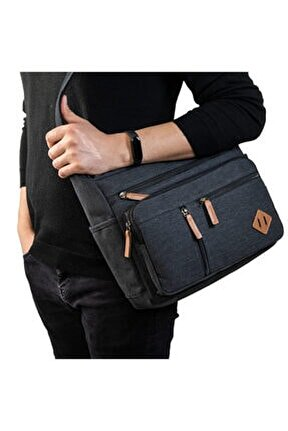 Unisex Kanvas Postacı Çanta Gk13 Siyah