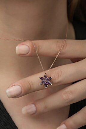 Kadın 925 Ayar Mor Lotus Çiçeği Gümüş Kolye