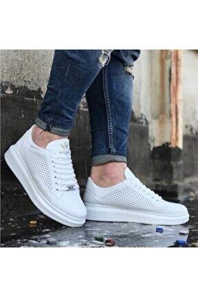 Yüksek Taban Delikli Beyaz Unisex Spor Ayakkabı