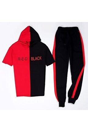 Red Black T-shirt Eş Kırmızı Eşofman Takımı