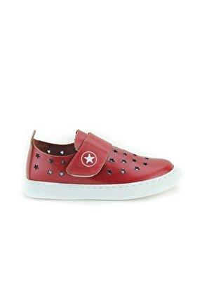 Unisex Çocuk Kırmızı Deri Ortopedik Ayakkabı